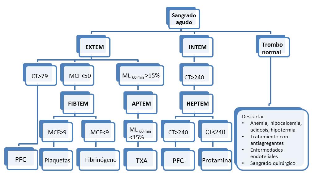Figura 4. Algoritmo basado en los datos de la tromboelastometría ante un sangrado agudo