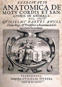 Figura 1: portada del libro Exercitatio Anatómica de Motu Cordis et Sanguinis in Animalibus de G. Harvey