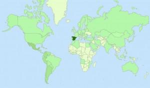 Visitas (verde) recibidas en AnestesiaR (Fuente: GoogleAnalytics)