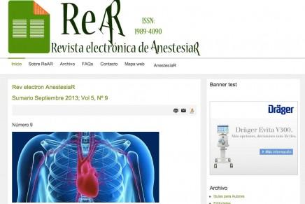 Publicado el número de Septiembre 2013 de la Revista electrónica de AnestesiaR