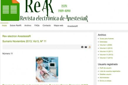 Publicado el número de Noviembre 2013 de la Revista electrónica de AnestesiaR