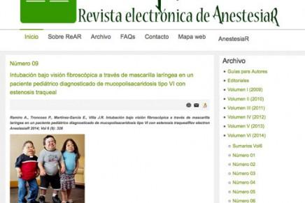 Publicado en abierto el número de Agosto de la Revista electrónica de AnestesiaR (ReAR)