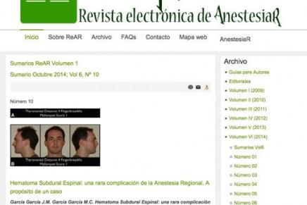 Publicado en abierto el número de Septiembre de la Revista electrónica de AnestesiaR (ReAR)