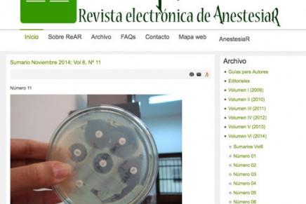 Publicado en abierto el número de Octubre de la Revista electrónica de AnestesiaR (ReAR)