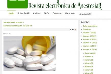 Publicado en abierto el número de Noviembre de 2014 de la Revista electrónica de AnestesiaR (ReAR)