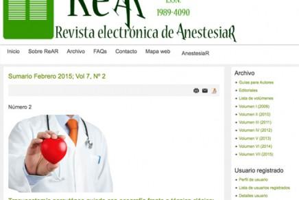 Publicado en abierto el número de Enero de 2015 de la Revista electrónica de AnestesiaR REAR
