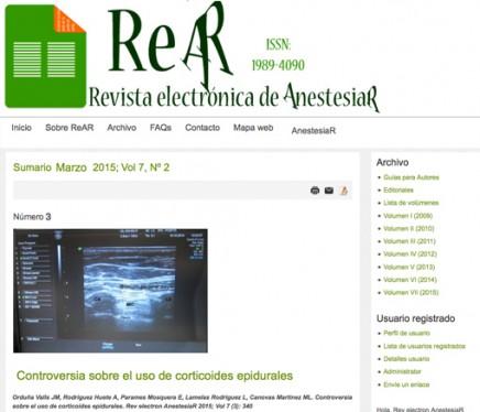 Publicado en abierto el número de Febrero de 2015 de la Revista electrónica de AnestesiaR REAR