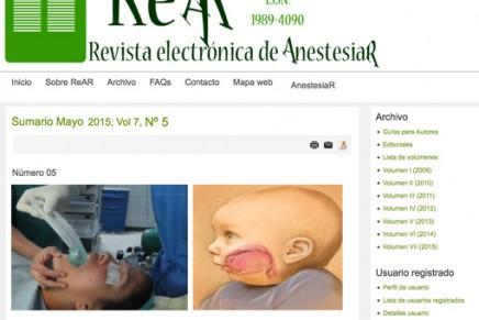 Publicado en abierto el número de Abril de 2015 de la Revista electrónica de AnestesiaR REAR