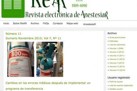 Publicado en abierto el número de noviembre 2015 de la ReAR