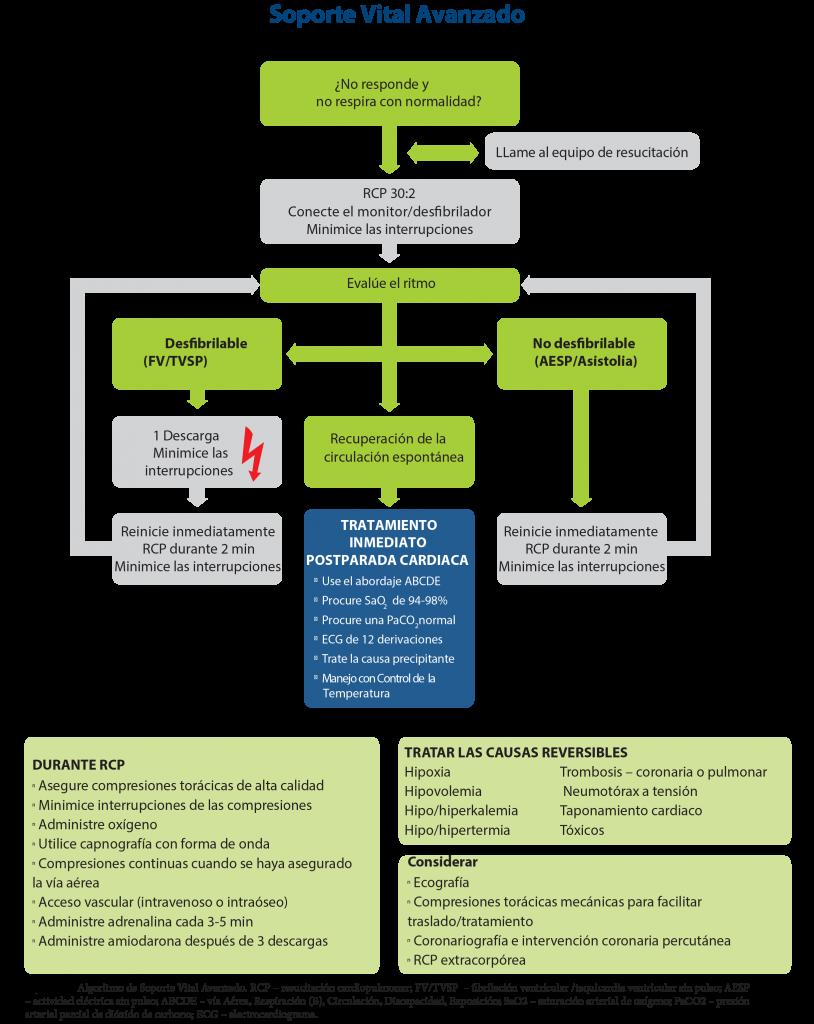 FIGURA 2 - Algoritmo de Soporte Vital Avanzado - ERC - ILCOR 2015
