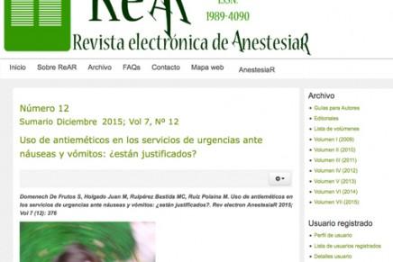 Publicado en abierto el número de Diciembre 2015 de la ReAR